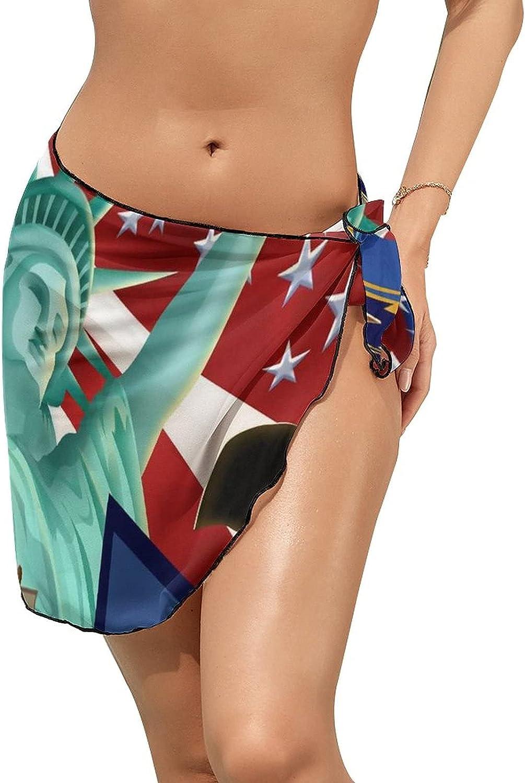 JINJUELS Women Beach Wrap Skirt Chiffon Sarong Pareo Swimsuit Bikini Cover Ups American Independence Day