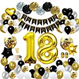 MMTX 18 Decorazioni per Feste di Buon Compleanno in Oro Nero, Palloncini per Compleanno, Pom Pom di Carta, Palloncini in Lamina d'oro per Uomini e Donne, Decorazioni per Feste per Adulti