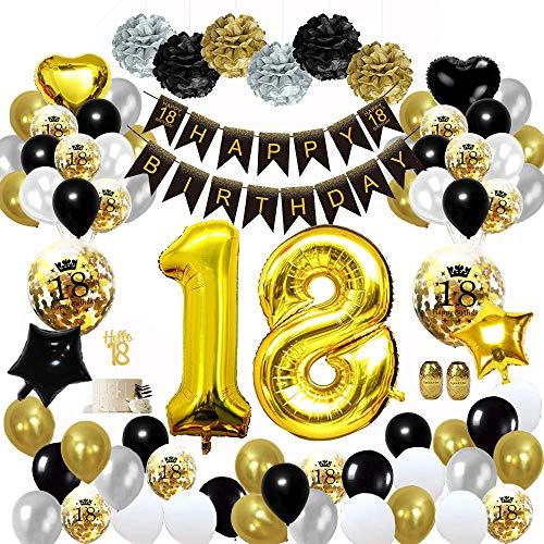 MMTX 18 Globos Cumpleaños Decoracione Oro Negro, Happy Birthday cumpleaños, Pompones de Papel, Globos de Papel de Oro para Hombres y Mujeres Adultos Decoración de Fiesta