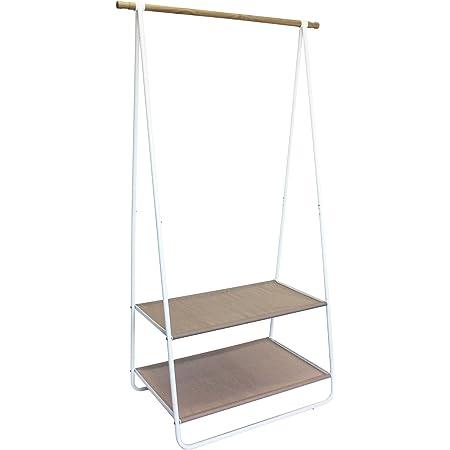 Box and Beyond Portant en Bois, métal et textilène - Blanc/Naturel - 1 Barre de penderie / 2 étagères - 55x95x171cm