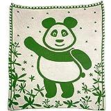 SonnenStrick 30097 Panda Babydecke/Erstlingsdecke/Schmusedecke/Schlafdecke aus 100% Bio Baumwolle kba 80 x 80 cm, grün