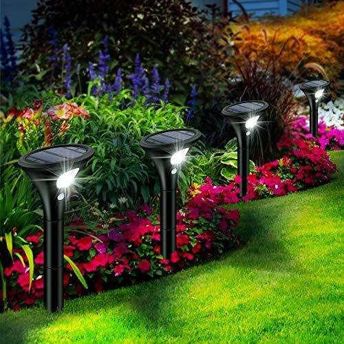 Leolee Solarlampen für Außen, [4 Stück] Solarleuchten Garten, LED Gartenleuchten Solar mit Bewegungsmelder, 2 Helligkeitsstufe, 1500 mAh Akku, IP65 Wasserdicht Auto Ein/Aus für Bäume, Rasen, Sträucher