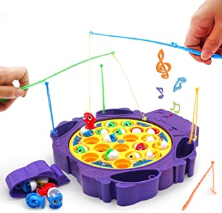 Fishing Game Toy with Rods Fish Board Rotating with Music Fine Motor Skill Training Gift for Children Kids Toddles Boys Girls Indoor Family Favor Games