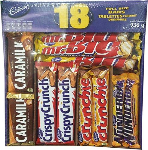 Cadbury 18 Full Size Assorted Chocolate Bars, Caramilk, Mr Big, Crispy Crunch, Crunchie, Wunderbar, 936g {Imported from Canada}