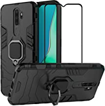 EasyLifeGo for Oppo A9 2020 / Oppo A5 2020 Kickstand Case with Tempered Glass Screen Protector [2 Pieces], Hybrid Heavy Duty Armor Dual Layer Anti-Scratch Case Cover, Black