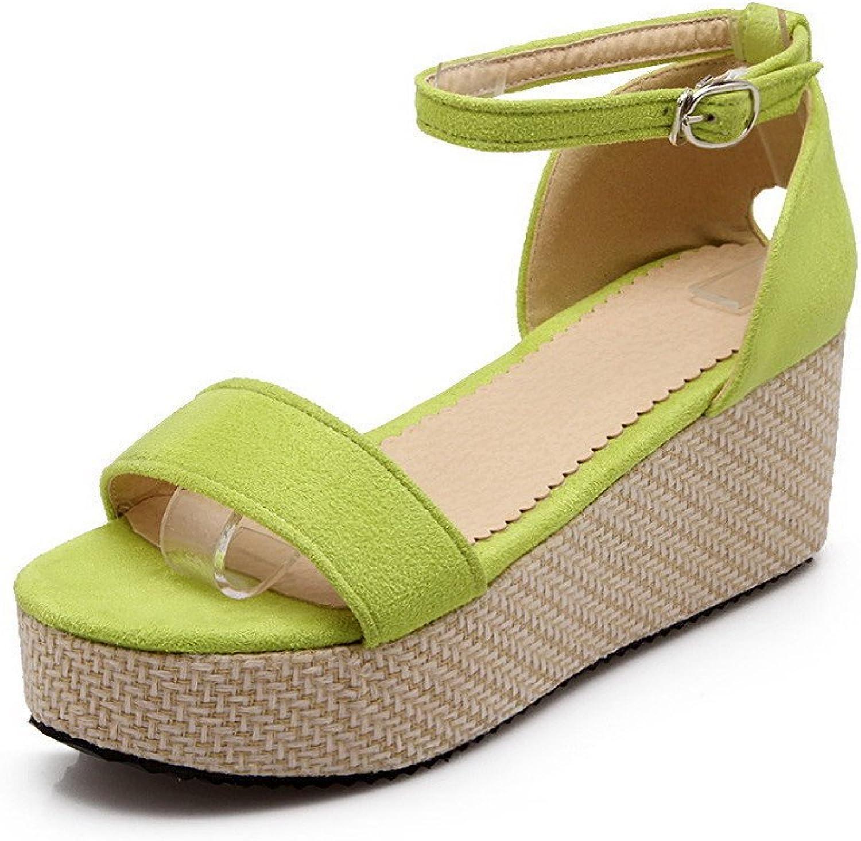 AmoonyFashion Women's Buckle Open Toe Kitten Heels Imitated Suede Solid Sandals