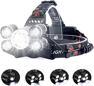 comprar comparacion Linterna frontal LED Recargable de Trabajo, 8000 Lúmenes, 4 Modos de Luz con Flash, Zoom in/out, Ligera Elástica, Impermea...
