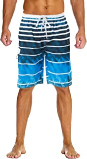 9917e6b0a1 Lncropo Swimming Trunks for Men Quick Dry Striped Men's Boys Swim Trunks  Beach Board Shorts with
