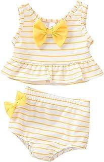Cecobora Baby Girl Bikini Striped Beach Swimsuit Ruffles Bathing Suit Adjustable Swimwear 2 Pcs Set