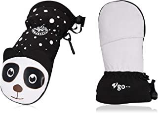 Vgo 1-Pair Age 3-4 Kids -4℉ or Above 3M Thinsulate G150 Lined Winter Goatskin Ski Gloves Waterproof Insert (Size XS, Black, SF-GA2449FW)