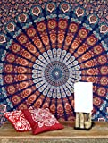 Guru-Shop India Mandala Bufanda, Toalla de Pared, Colcha Mandala Imprimir - Azul/naranja, Algodón, 210x240 cm, Mandala Colchas y Relojes