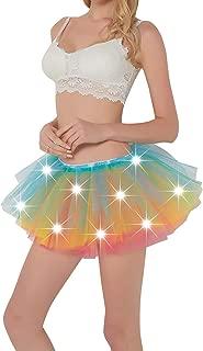 Comall Women LED Tutu Light Up Neon Rainbow 5 Layered Party Dance Tulle Skirt