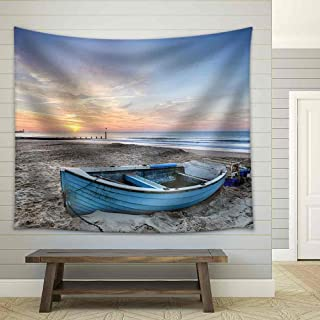 wall26 - Turquoise Blue Fishing Boat at Sunrise on Bournemouth Beach with Pier in Far Distance - Fabric Wall Tapestry Home Decor - 68x80 inches