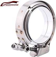 SPEEDWOW 3.0 Inch Exhaust V-Band Clamp Quick Release Male Female Flat Flange With O Ring Aluminium Alloy