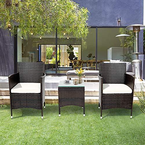 Leisure Zone Polyrattan Balkonmöbel Set 2 Personen–1 Tisch & 2 Sessel–Wetterfeste Gartenmöbel Set–für Garten, Balkon & Terrasse–inkl. Sitzkissen–Braun