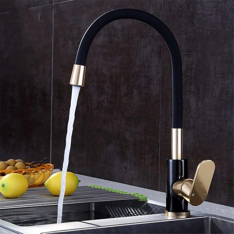 360 ° drehbaren Wasserhahn Retro Wasserhahn Küchen-Mischbatterien Antikes Space Aluminium Schwarz Gold Kitchen Sink Tap