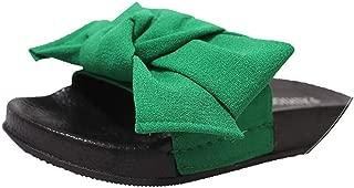 Summer Women's Slippers Bow Fabric Designer Flat Non-Slip Cute Slides Home Flip Flop Casual Sandal Female Tap Beach Shoes,Green,6.5