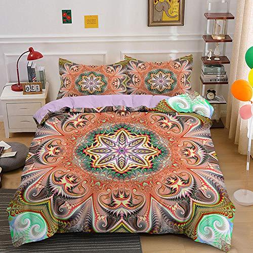 HGFHKL 3D Mandala Amarillo 3 Piezas Juego de Cama de Estilo Bohemio Edredón Funda de Almohada Sábana Decoración del hogar Textil 3 Piezas