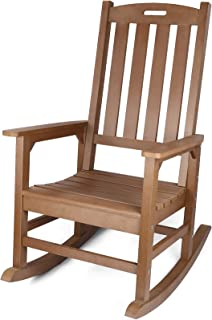 Outdoor Rocking Chair with 350lbs Support, All-Weather Oversized Outdoor Chair, Fade-Resistant Porch Rocker Chair, 34L 27W...