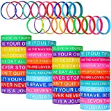 60 Pieces Motivational Quote Rubber Wristbands Colored Inspirational Silicone Bracelets Stretch Unisex Wristbands for Women Men Teen Gifts, 20 Styles