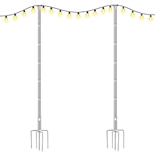 Brillihood Outside String Light Poles, (2X 10ft) Height Adjustable Stainless Steel Pole Stand for Hanging String Lights + ...