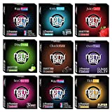 NottyBoy Condoms Mix Pack of 27 Count | Includes: Ribbed, Dotted, Extra Time, Ultra Thin, Extra Lubricated, Snug Fit, Flavored (Strawberry, Apple, Chocolate)