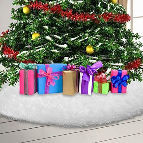Vlovelife Tapise de Sapin de Noël en Fausse Fourrure 120 cm Blanc, Fourrure synthétique