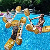 TURNMEON 6 Pcs Battle Log Rafts Inflatable Pool Float Row Toys for 3 Players Adults Kids Summer Swimming Pool Party Water Sports Outdoor Games Pool Float Water Toys for (57' x 14')
