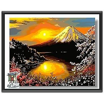 ARTomo【アトモ】パズル油絵『フレーム付き』数字 油絵 DIY 塗り絵 本格的な油絵が誰でも簡単に楽しく描ける 40x50cm (【富士山】)