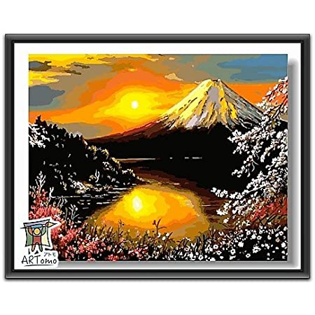ARTomo【アトモ】パズル油絵『日本国内発送|フレーム付き』数字 油絵 DIY 塗り絵 本格的な油絵が誰でも簡単に楽しく描ける 40x50cm (富士山)