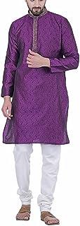 Men's Royal Indian Purple Traditional Ethnic Diwali Wear Cultural Kurta Pajama India