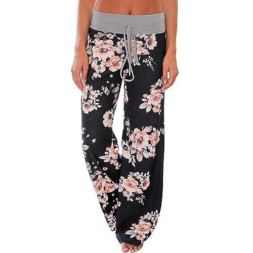 c10bec207a AMiERY Women s Comfy Casual Pajama Pants Floral Print Drawstring Palazzo Lounge  Pants Wide Leg