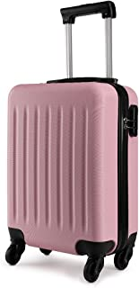 Kono 19 inch Carry On Lightweight and Durable Luggage ABS 4 Wheel Spinner Suitcase Hard Cabin Travel Case Hand Luggage for Travel, Business (Pink)