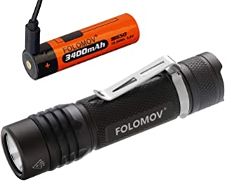 FOLOMOV EDC Tactical Flashlight with(3400mAh USB Charging Battery),960 Lumens,IPX-8 Waterproof, Military Grey Hard Anodizing, Many Functions for Camping and Hiking, Nicha 219D LED,18650S
