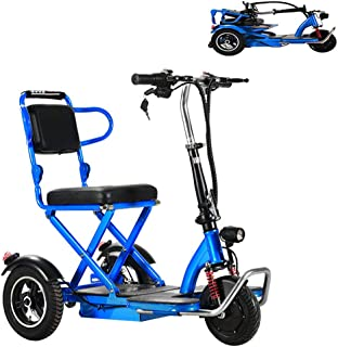 電動三輪カート 電動車椅子 電動車いす 電動シニアカート 運転免許不要!折りたたみ 軽量 コンパクト 電動カート スクーター 三輪車 移動3輪車 350ワットモーター 取り外し可能なバッテリー 最高速,ブルー,25KM