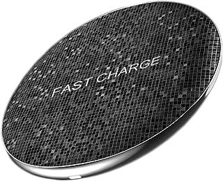 WangLx Ele Cargador Inalámbrico Rápido 10W/7.5W/5W, Qi Cargador Rápido Wireless Compatibles iPhone X/XS MAX/XS/XR/ 8/8 Plus Samsung Note 9/S9/S8+ y 5W Otros Dispositivos Compatibles con Qi, Black