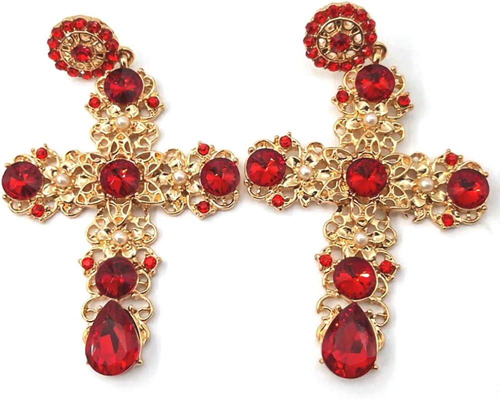 QTKJ Vintage Gothic Baroque Big Cross Earrings, Gold Luxury Crystal Ear Stud Dangle Earrings Jewelry (Red)