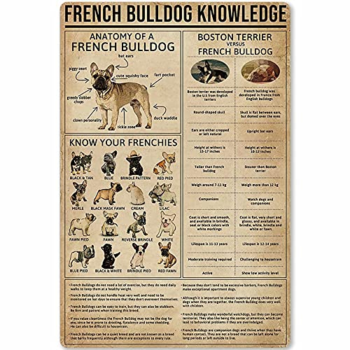 French Bulldog Knowledge Posters Retro Plaque Science Guide Posters Room Club Farm Bathroom Wall Decor 12x16 Inches