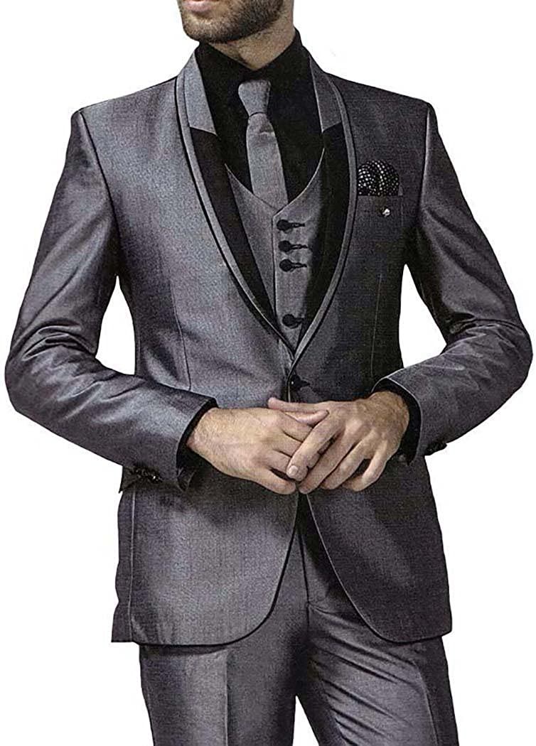 INMONARCH Mens Gray 7 Pc Tuxedo Suit Modern Fit One Button TX1025