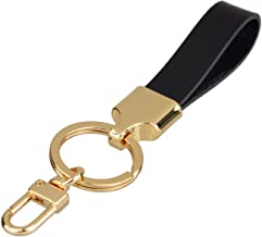 Richbud Full Grain Leather Gold Key Ring Lobster Swivel Keychain Fob (Black)