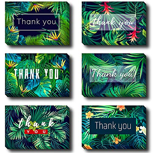 HANSGO 24 Thank You Cards with Envelopes, 6 Summer Designs Blank Cards Handwritten Style with Emoji Sticker