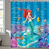 Bonhause Duschvorhang 180 x 180 cm Kleine Meerjungfrau unter dem Meer Koralle Duschvorhänge Anti-Schimmel Wasserdicht Polyester Stoff Waschbar Bad Vorhang für Badzimmer mit 12 Duschvorhangringen