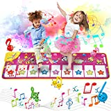 Music Piano Mat, Piano Keyboard Playmat Dance Mat Electronic Music Mat Touch Play Blanket 39.4'X14.2', 8 Animal Sound Options Built-in Speaker&Demo, Xmas Gifts Toys for Girls Boys Toddlers Kids