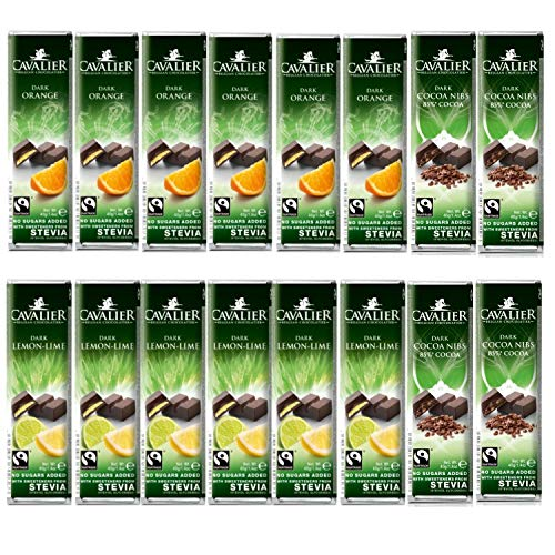 Cavalier Barrette Di Cioccolato Con Eritritolo+Stevia E Senza Aggiunta Di Zuccheri, 16x40 Grammi, Fondente, Fondente-Limone, Fondente-Arancio
