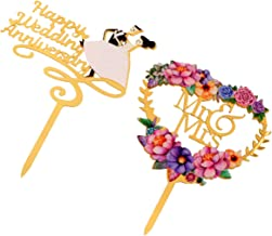 KESYOO 2 Pcs Happy Anniversary Cake Topper Love Flower Shape Mr and Mrs Cake Topper Picks Cake Decorations for Wedding Eng...