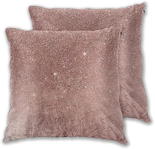 Funda Almohada Suave,Juego de 2 Fundas de cojín,ed Girl Pink Rose Gold Foil y Flash Net Non Real Flash,Funda Almohada Decorativa,para sofá