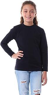 Kady Plain Long Sleeves Crew Neck Cotton T-shirt for Kids