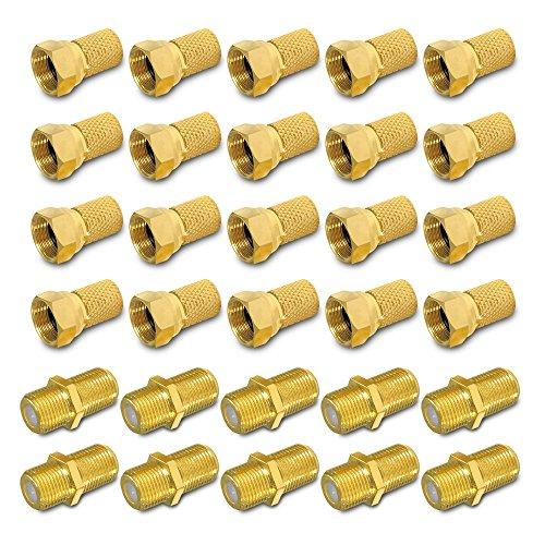 HD Sat F Stecker Verbinder vergoldet Verbindungsset 20 x F-Stecker 7 - 7,4 mm 10 x F-Verbinder Verbindung Kabel Kupplung Buchse Anlagen Koax 4K ARLI 20 Stück Stecker 7,0 7,2 mm 10 Verbinder UHD golde