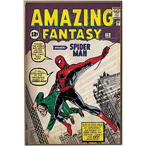 Silver Buffalo MC8536 - Placa de Madera para Pared, diseño de Spiderman Fantasy First Appearance, 33.02 cm x 48.26 cm