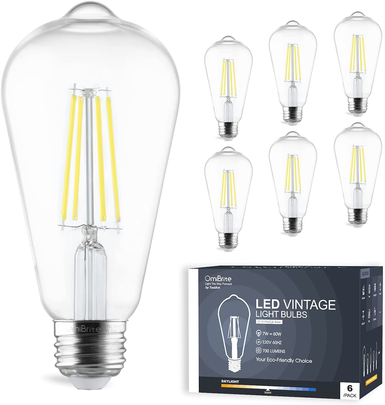 OmiBrite 2021new shipping free LED Edison Bulb 5000K 7W Daylight Trust Non-Dimmable = White